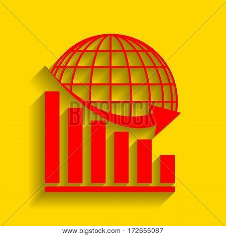 Declining graph with earth. Vector. Red icon with soft shadow on golden background.