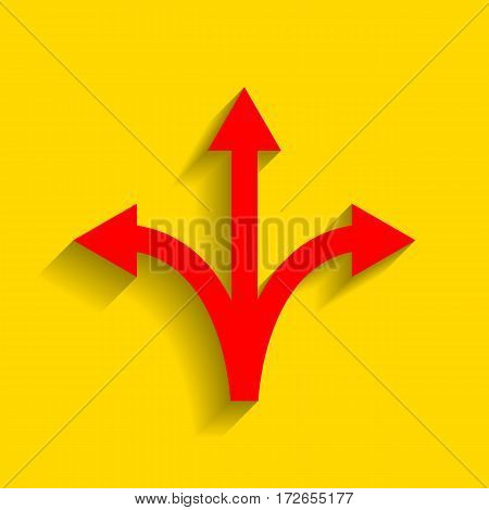 Three-way direction arrow sign. Vector. Red icon with soft shadow on golden background.
