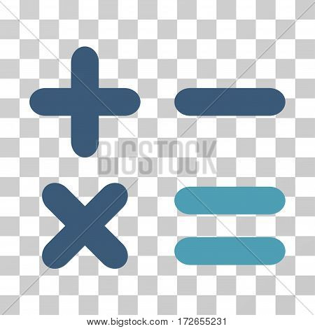 Calculator icon. Vector illustration style is flat iconic bicolor symbol cyan and blue colors transparent background. Designed for web and software interfaces.