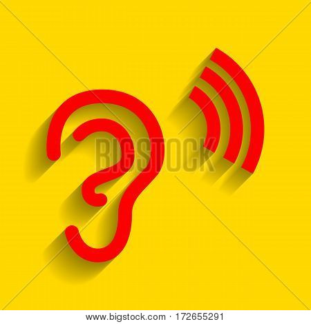 Human ear sign. Vector. Red icon with soft shadow on golden background.