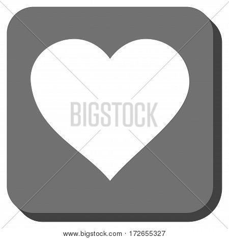 Valentine Heart toolbar button. Vector pictograph style is a flat symbol in a rounded square button white and gray colors.