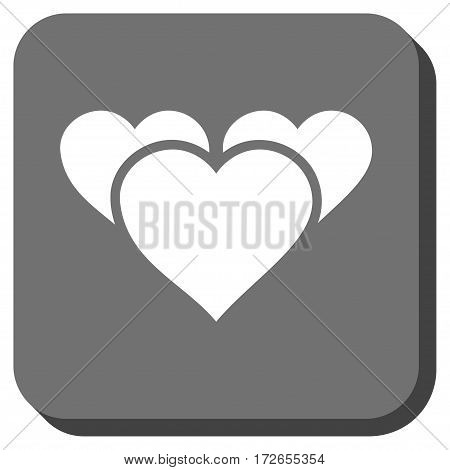 Valentine Hearts toolbar button. Vector pictogram style is a flat symbol on a rounded square button white and gray colors.