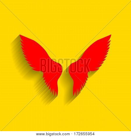 Wings sign illustration. Vector. Red icon with soft shadow on golden background.