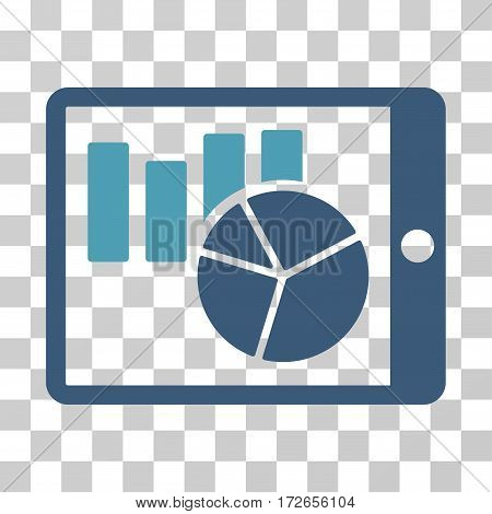 Charts On PDA icon. Vector illustration style is flat iconic bicolor symbol cyan and blue colors transparent background. Designed for web and software interfaces.