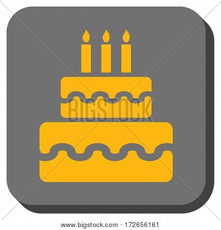 Birthday Cake rounded icon. Vector pictogram style is a flat symbol inside a rounded square button yellow and gray colors.
