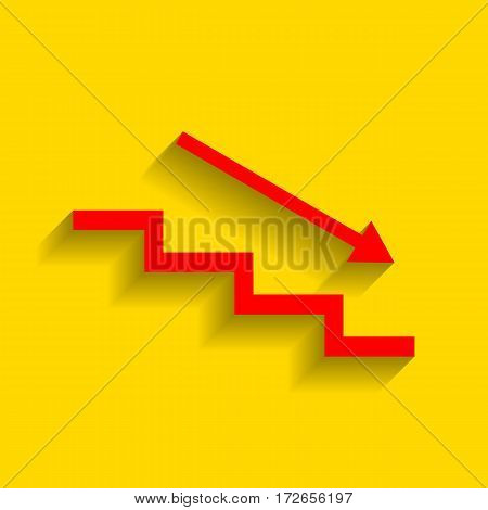 Stair down with arrow. Vector. Red icon with soft shadow on golden background.
