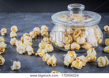 Popcorn On A Gray Background