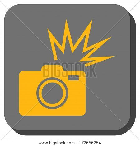 Camera Flash rounded button. Vector pictograph style is a flat symbol in a rounded square button yellow and gray colors.