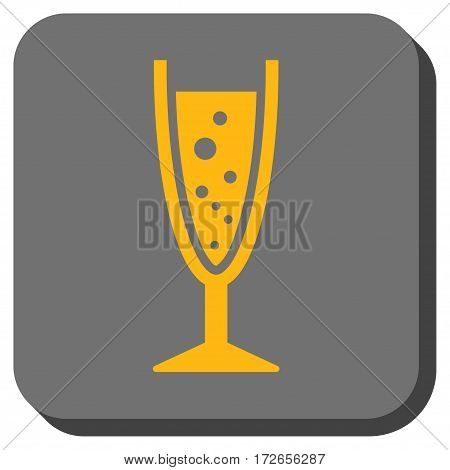 Champagne Glass interface button. Vector pictograph style is a flat symbol on a rounded square button yellow and gray colors.