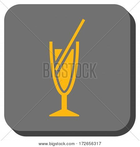 Cocktail interface toolbar button. Vector pictograph style is a flat symbol centered in a rounded square button yellow and gray colors.