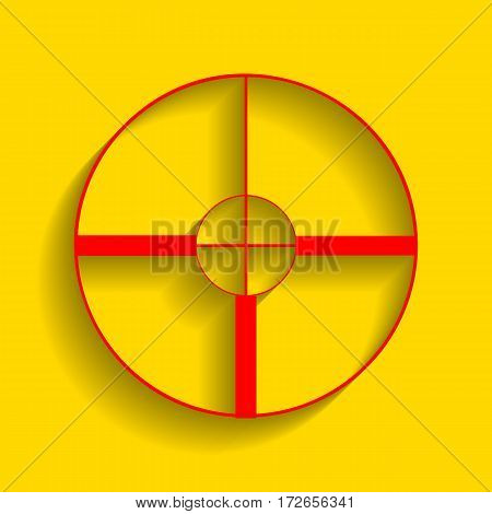 Sight sign illustration. Vector. Red icon with soft shadow on golden background.