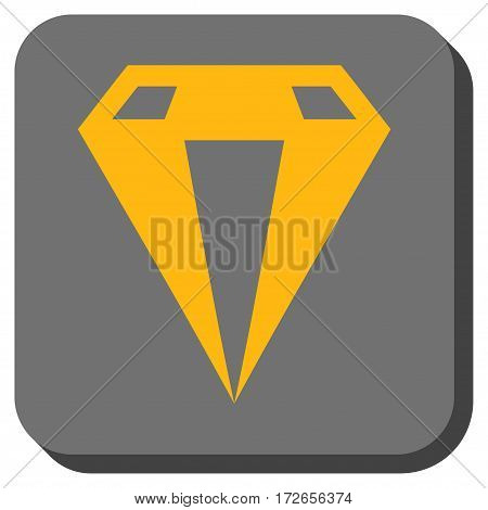 Diamond rounded icon. Vector pictogram style is a flat symbol centered in a rounded square button yellow and gray colors.