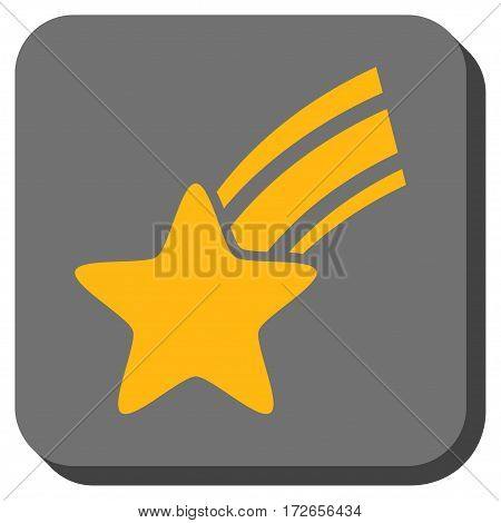 Falling Star toolbar button. Vector pictograph style is a flat symbol inside a rounded square button yellow and gray colors.
