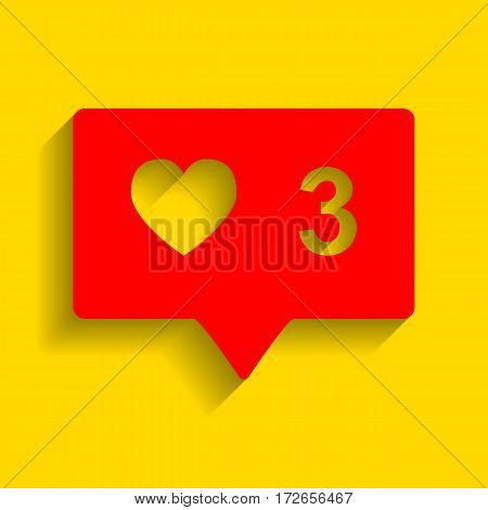 Like and comment sign. Vector. Red icon with soft shadow on golden background.
