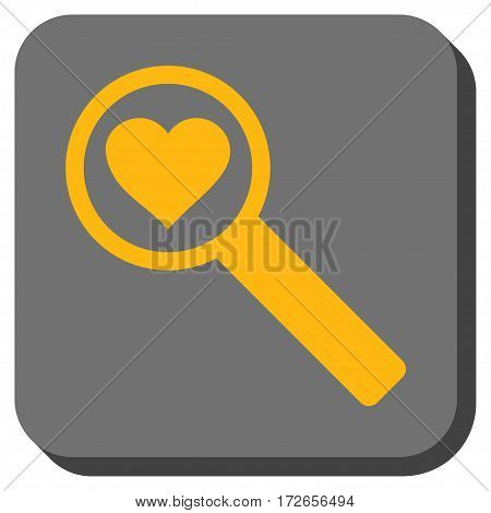 Find Love square button. Vector pictograph style is a flat symbol inside a rounded square button yellow and gray colors.