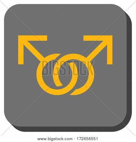 Gay Love Symbol interface icon. Vector pictogram style is a flat symbol on a rounded square button yellow and gray colors.