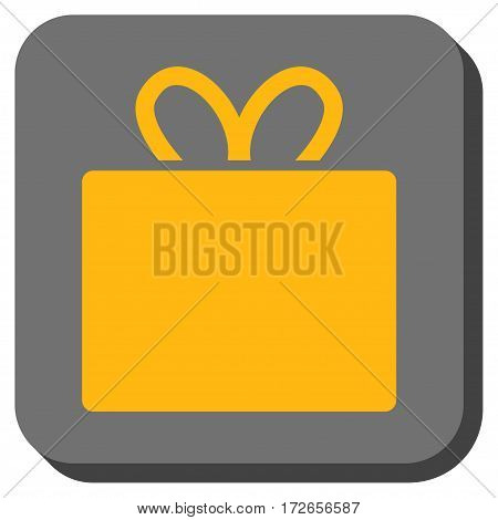 Gift rounded button. Vector pictograph style is a flat symbol on a rounded square button yellow and gray colors.