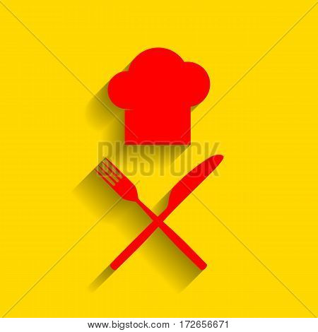 Chef with knife and fork sign. Vector. Red icon with soft shadow on golden background.
