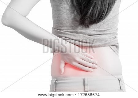 Backache Or Painful Waist In A Woman Isolated On White Background. Clipping Path On White Background