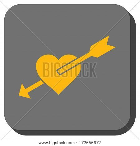 Heart Arrow interface toolbar icon. Vector pictograph style is a flat symbol centered in a rounded square button yellow and gray colors.