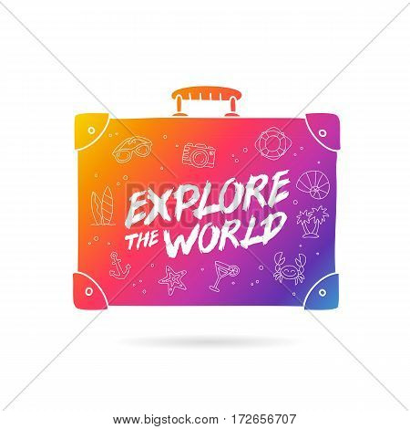 Rainbow bag with the inscription - Explore the world and summer icons. Trend lettering. Vector illustration on white background.