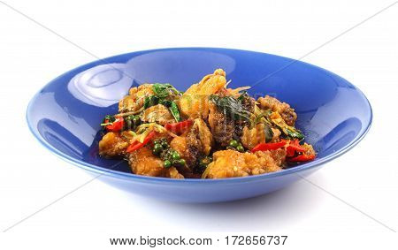 Stir Fried Snapper With Pepper And Chilli On White