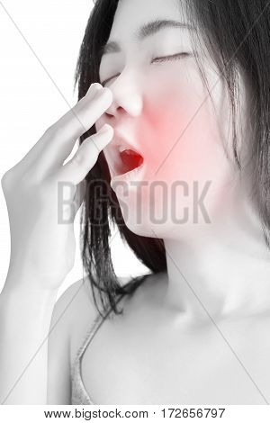 Acute Pain And Sore Throat Symptom In A Woman Isolated On White Background. Clipping Path On White B