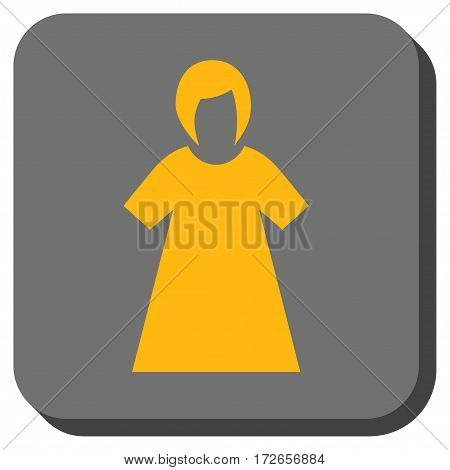 Lady Figure toolbar button. Vector pictogram style is a flat symbol inside a rounded square button yellow and gray colors.