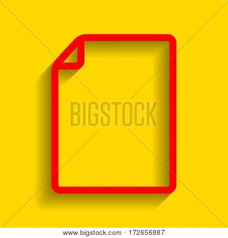 Vertical document sign illustration. Vector. Red icon with soft shadow on golden background.
