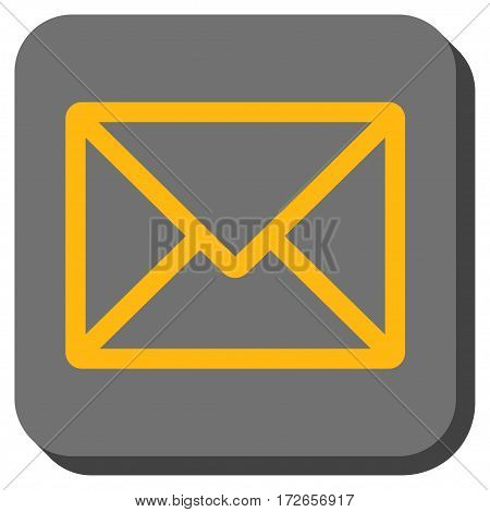 Letter interface button. Vector pictograph style is a flat symbol inside a rounded square button yellow and gray colors.