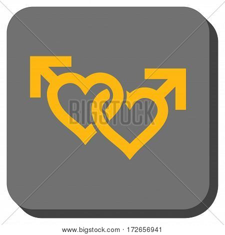 Linked Gay Hearts toolbar button. Vector pictograph style is a flat symbol inside a rounded square button yellow and gray colors.