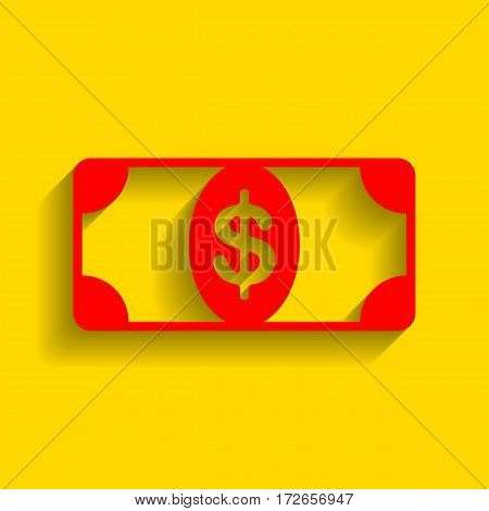 Bank Note dollar sign. Vector. Red icon with soft shadow on golden background.