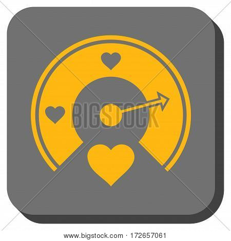 Love Gauge square icon. Vector pictogram style is a flat symbol in a rounded square button yellow and gray colors.