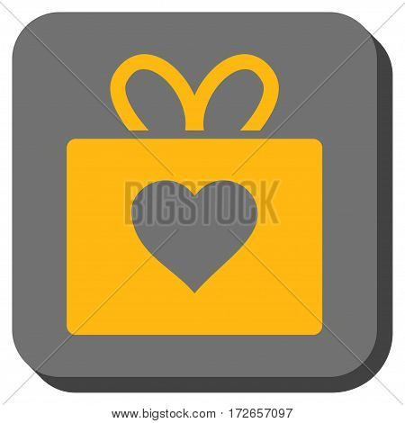 Love Gift interface icon. Vector pictogram style is a flat symbol inside a rounded square button yellow and gray colors.