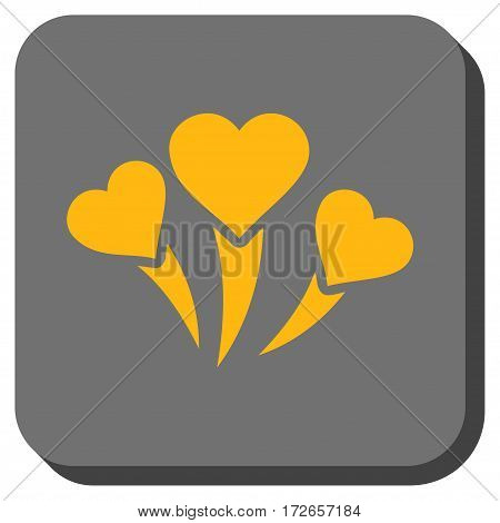 Love Heart Fireworks interface toolbar icon. Vector pictogram style is a flat symbol inside a rounded square button yellow and gray colors.