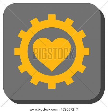 Love Heart Options Gear interface toolbar icon. Vector pictogram style is a flat symbol centered in a rounded square button yellow and gray colors.
