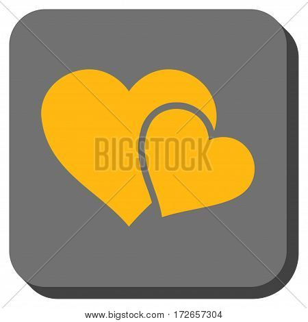 Love Hearts interface button. Vector pictograph style is a flat symbol inside a rounded square button yellow and gray colors.