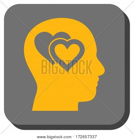 Love In Mind square button. Vector pictogram style is a flat symbol inside a rounded square button yellow and gray colors.