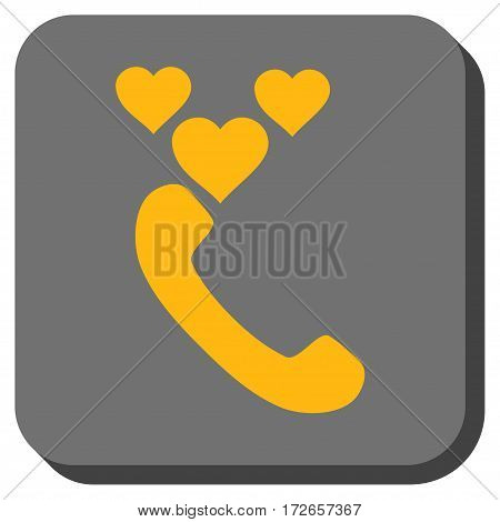 Love Phone Call interface toolbar icon. Vector pictogram style is a flat symbol on a rounded square button, yellow and gray colors.