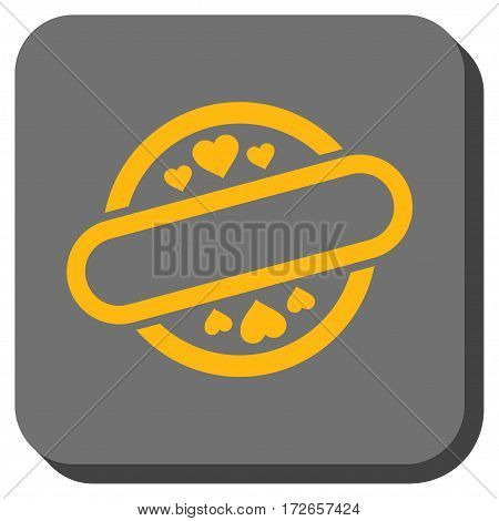 Love Stamp Seal rounded button. Vector pictogram style is a flat symbol in a rounded square button yellow and gray colors.