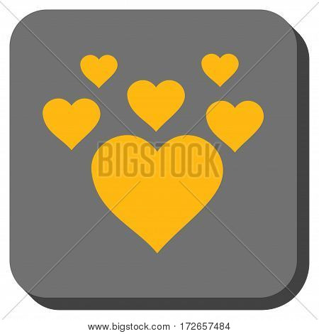 Lovely Hearts interface icon. Vector pictograph style is a flat symbol on a rounded square button yellow and gray colors.