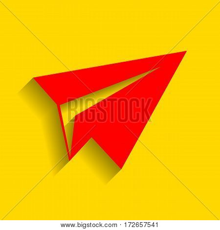 Paper airplane sign. Vector. Red icon with soft shadow on golden background.