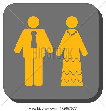 Newlyweds interface icon. Vector pictograph style is a flat symbol in a rounded square button, yellow and gray colors.
