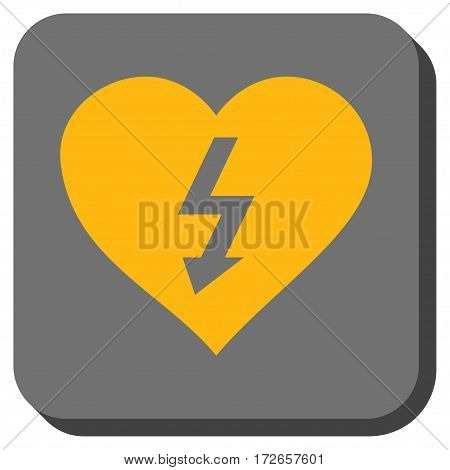 Power Love Heart interface icon. Vector pictogram style is a flat symbol in a rounded square button, yellow and gray colors.