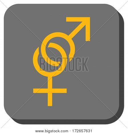 Sex Symbol interface button. Vector pictograph style is a flat symbol on a rounded square button, yellow and gray colors.