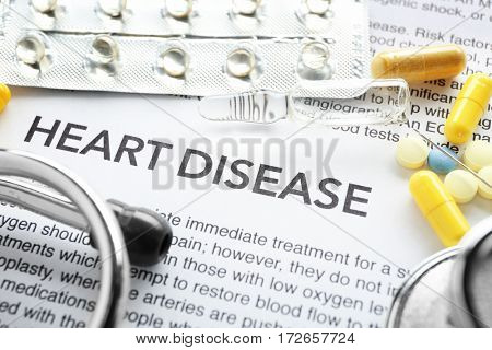 Phrase HEART DISEASE in center of medicines