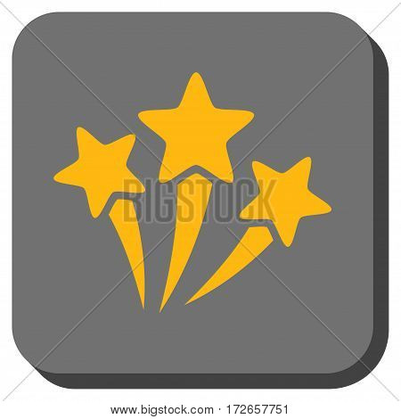 Star Fireworks square button. Vector pictogram style is a flat symbol inside a rounded square button, yellow and gray colors.