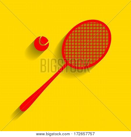 Tennis racquet sign. Vector. Red icon with soft shadow on golden background.