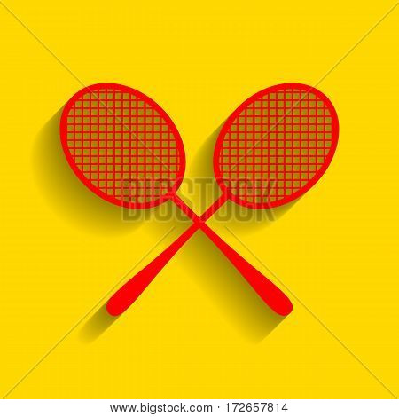 Tennis racquets sign. Vector. Red icon with soft shadow on golden background.
