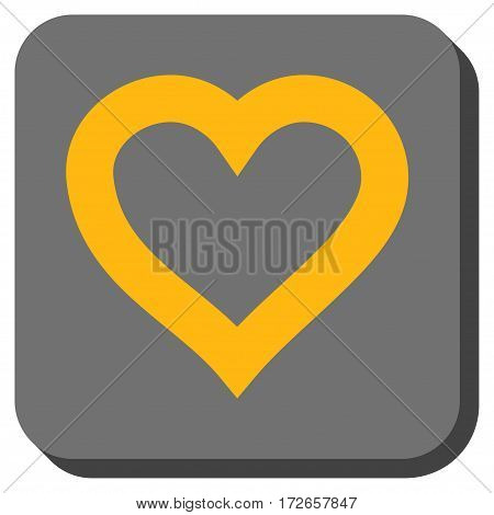 Valentine Heart interface toolbar button. Vector pictogram style is a flat symbol in a rounded square button, yellow and gray colors.
